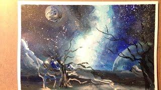 Как нарисовать космос, рисуем ночное небо,  урок рисования акрилом для начинающих