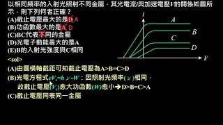 近代物理【例題】01光電流與遏止電位關係圖