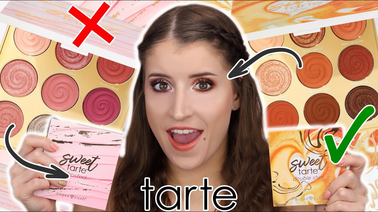 TARTE SWEET TARTE DOUBLE SHOT & FROSTED PALETTES 🍬 SWATCHES + 2 LOOKS!