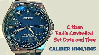 How To Set Time And Date Citizen Eco Drive At Radio Controlled H144 H145 Youtube