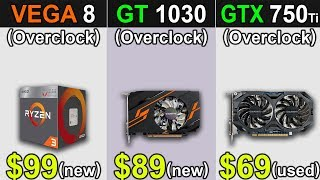 Vega 8 Vs. GT 1030 Vs. GTX 750 Ti | New Games Benchmarks