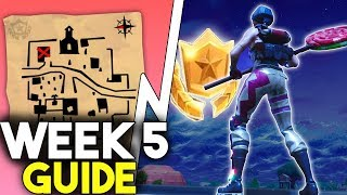 Fortnite SEASON 5 WEEK 5 Challenge Guide! | Treasure Map Location! | Golfing Challenge Guide!