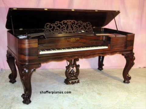 1860 square grand piano restored playing brahms youtube for How big is a grand piano