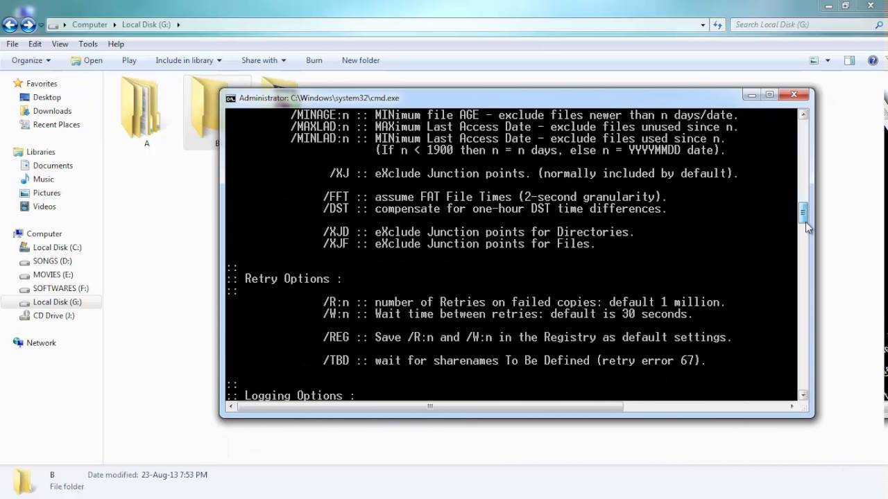 COMMAND PROMPT - copying data directory wise robocopy