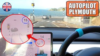 FSD shows CROSSWALK / Zebra Crossing for first time! | Tesla Autopilot UK City #29 Plymouth