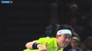 Nishikori Drops His Racquet Paris 2015