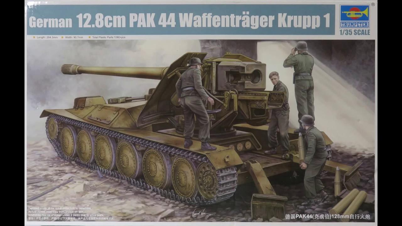 trumpeter 1 35 german 12 8 cm pak 44 waffentrager krupp 1. Black Bedroom Furniture Sets. Home Design Ideas