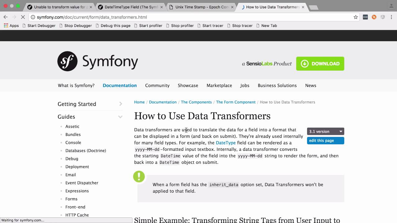 Timestamps on Symfony 3 Forms