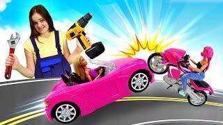 Куклы Барби и лучшая подружка в автомастерской. Шоу Будет Исполнено.