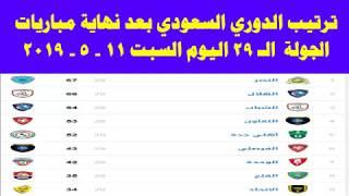 جدول ترتيب الدوري السعودي بعد نهاية الجولة 29 اليوم السبت 11-5-2019