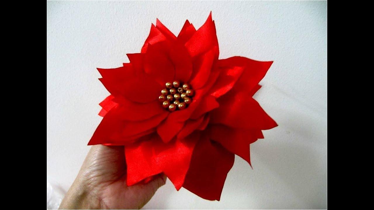 Mo os navide os flores nochebuena en telas youtube for Elaboracion de adornos navidenos