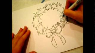 How to draw (for beginners): A Christmas Wreath.!