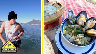 White Mussel &quotJiving&quot &amp Potjie recipe, CATCH COOK Cape Town, South Africa