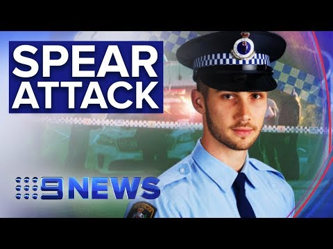 Police constable allegedly slashed with homemade spear | Nine News Australia