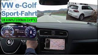 VW e-Golf 300: Sport-Fahrt | Vollstrom auf der Autobahn, 155 km/h | Strominator