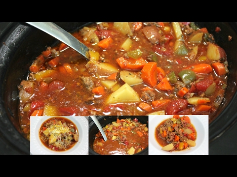 Slow Cooker Hamburger Stew (Soup): Ground Beef Crockpot Recipes
