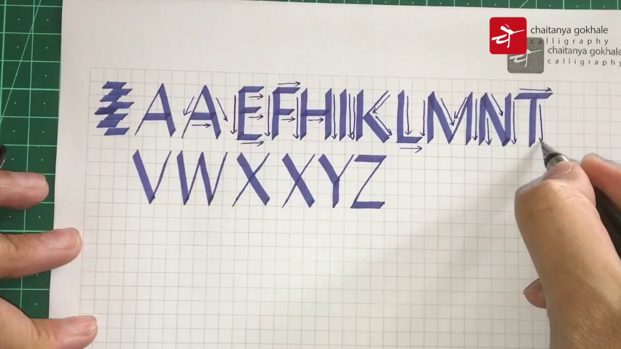 Learn Calligraphy Alphabets Tutorial For Beginners With Free Template