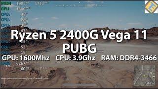 Ryzen 5 2400G PUBG GPU@1600Mhz CPU@3.9Ghz DDR4-3466 Gameplay Benchmark