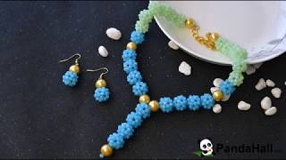 PandaHall Video Tutorial on Imitation Jade Glass Beads Stitch Jewelry Set
