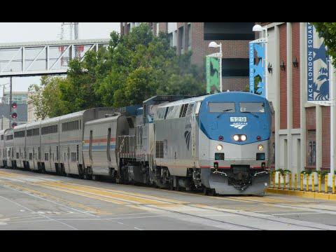 Railfanning Jack London Square - Amtrak Trains in Oakland, CA