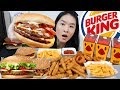 BURGER KING XL FEAST!! Cheesy BBQ Burgers, Whopper, Chicken Fries, Onion Rings | Mukbang Eating Show