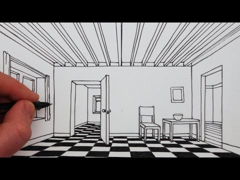How to Draw a Room in 1-Point Perspective: Narrated Drawing