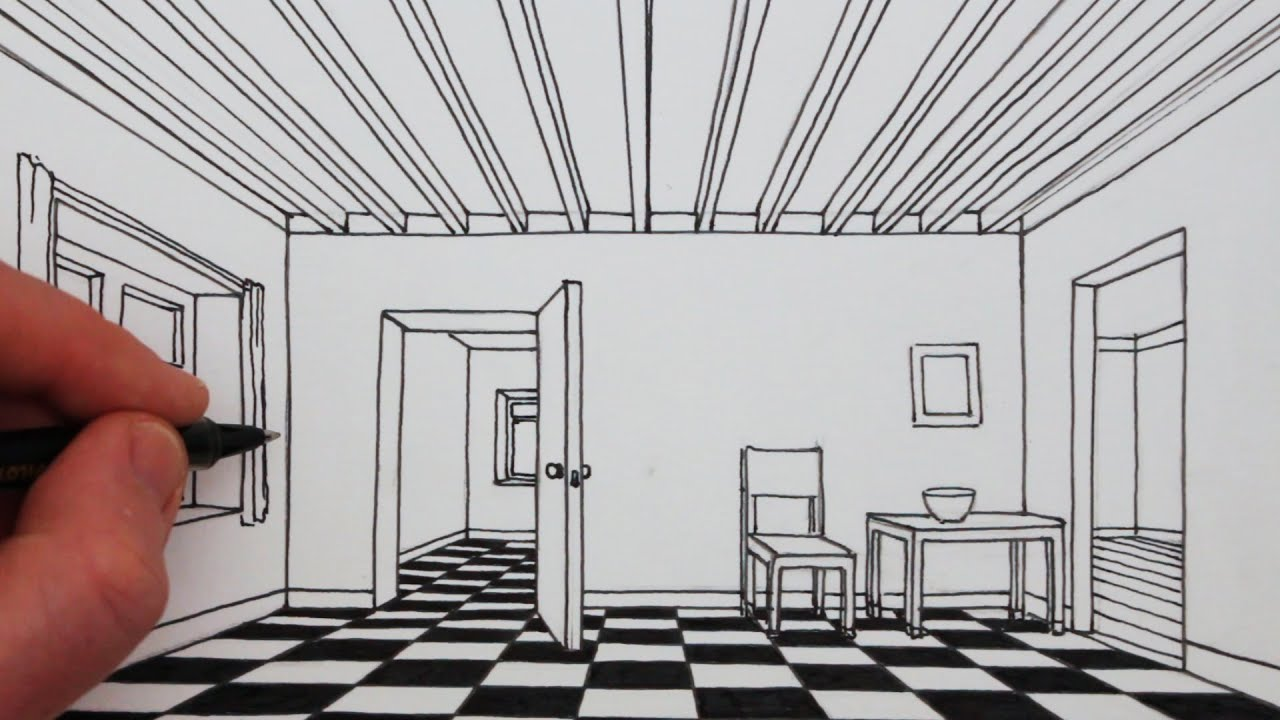 How to draw a room in 1 point perspective narrated - One point perspective drawing living room ...