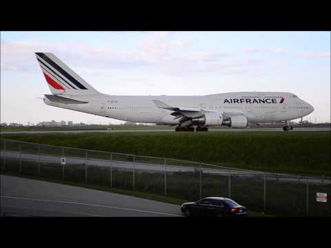 Air Canada Dreamliner followed by Air France 351 Boeing 747 for Paris - CDG