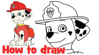 How to draw Marshall Paw Patrol characters step by step easy drawing