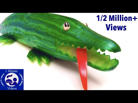 How to Make a Cucumber Crocodile / Party Idea, Food Art, Cutting Tricks, Garnish