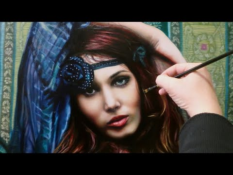 REALISTIC OIL PAINTING DEMO - beautiful hippie / boho chic style woman portrait by Isabelle Richard
