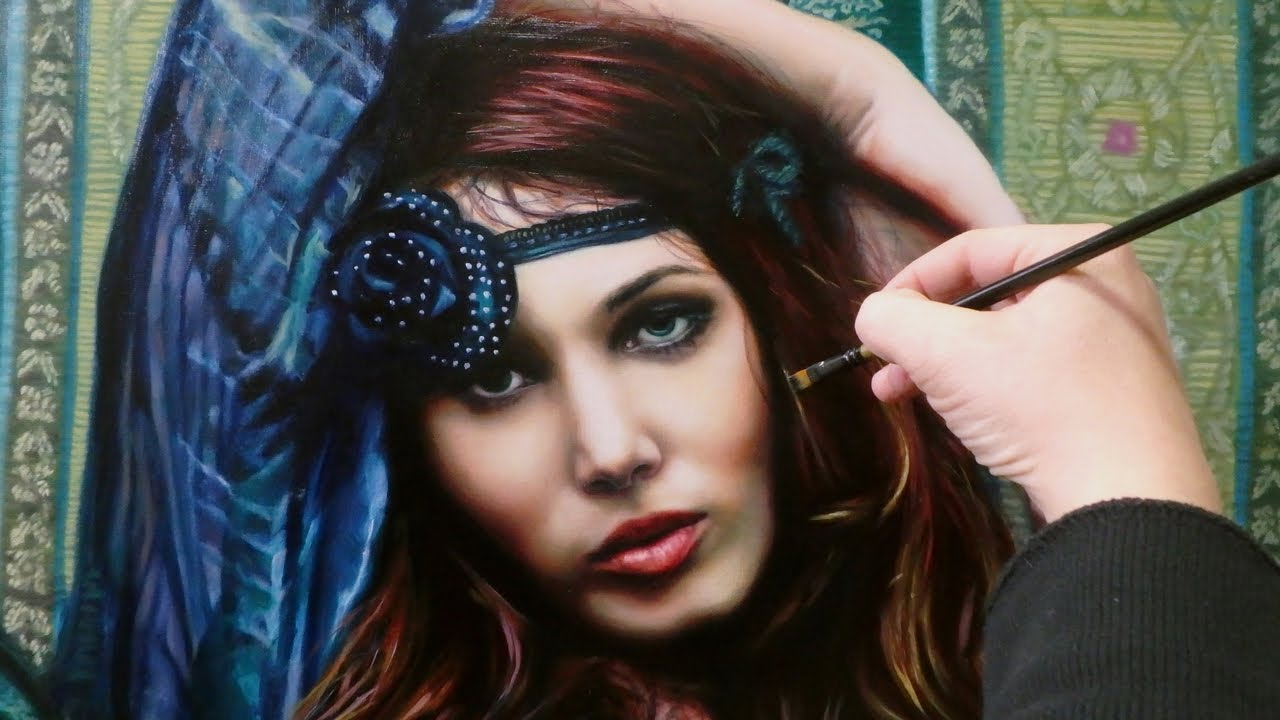 REALISTIC ART ✦ OIL PAINTING ✦ PORTRAIT DEMO - hippie / gipsy / boho chic woman by Isabelle Richard