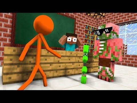 Monster School : AVM SHORTS - STICKMAN & Epic BOTTLE FLIP CHALLENGE - Minecraft Animation