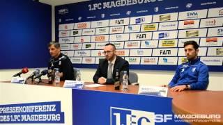 Pressekonferenz vor dem Spiel - 1. FC Magdeburg gegen FC Erzgebirge Aue - www.sportfotos-md.de