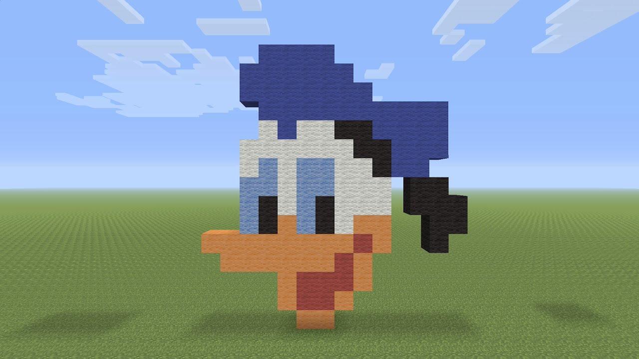 Minecraft Pixel Art Donald Duck Head Youtube