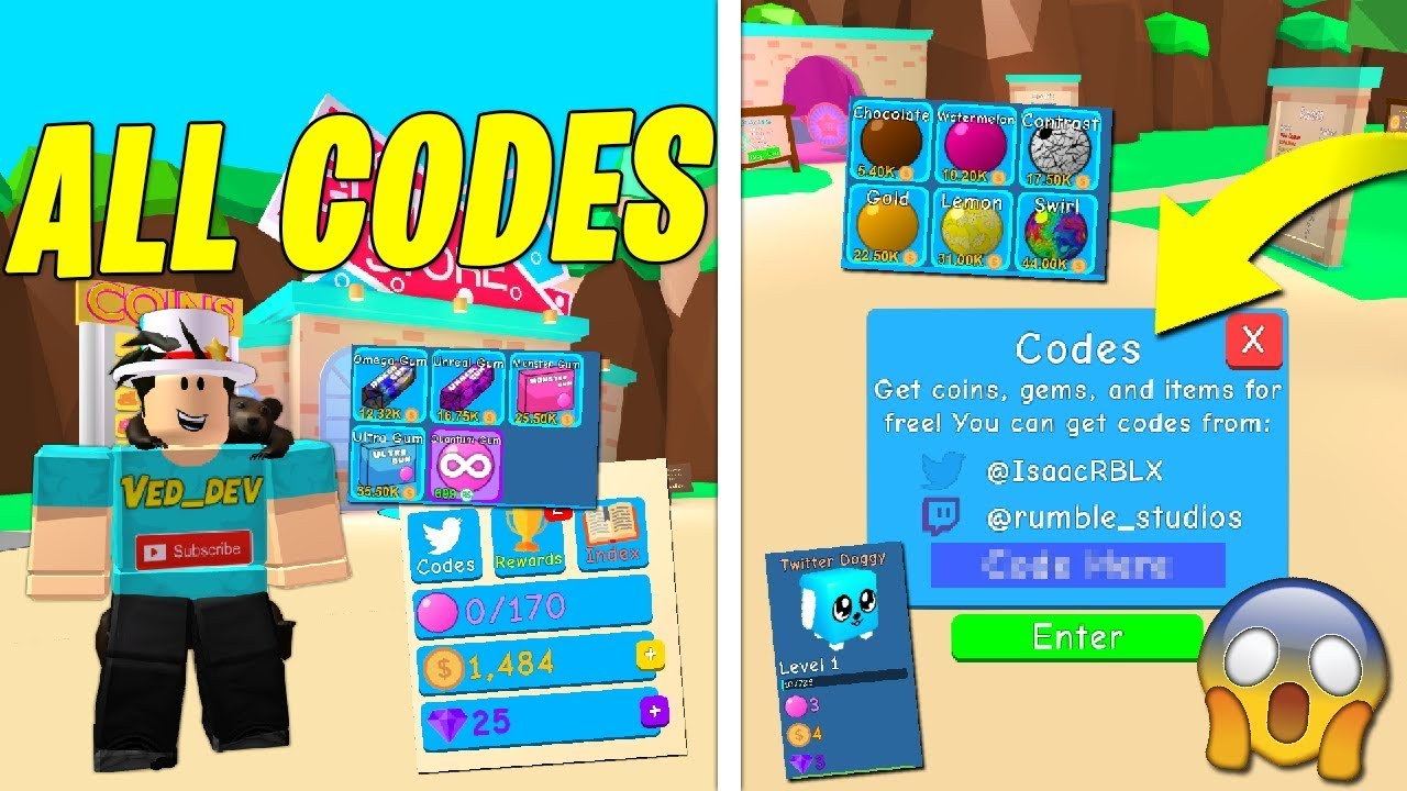 roblox bubble gum simulator codes pets
