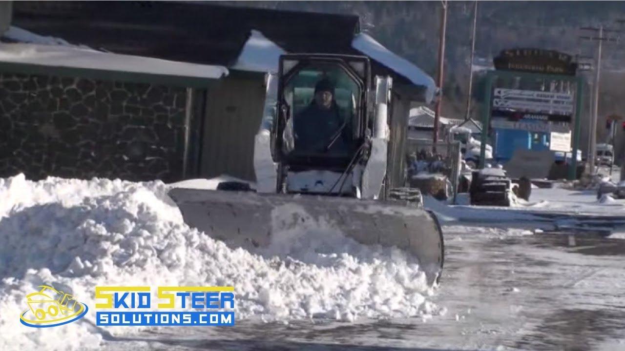 skid steer snow plow bobcat using an hds 96 snow plow [ 1280 x 720 Pixel ]