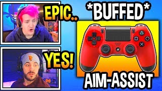 "Streamers React To ""AIM ASSIST"" *BUFFED* In Fortnite! (INSANE!) Fortnite Moments"