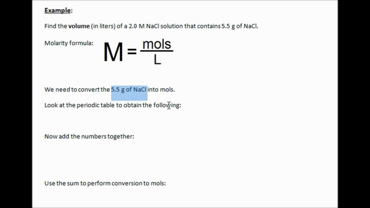 How To Calculate Volume In A Molarity Problem (chemistry)