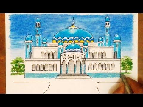 MASJID BIRU - CARA Menggambar dan Mewarnai MASJID/Drawing Mosque