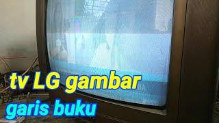 Tv LG gambar ada garis buku dan memutih