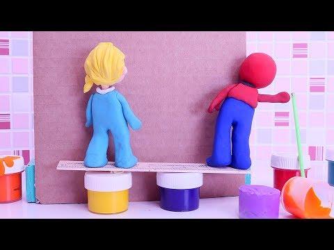 Painting room 💕 Superhero Play Doh Stop motion cartoons