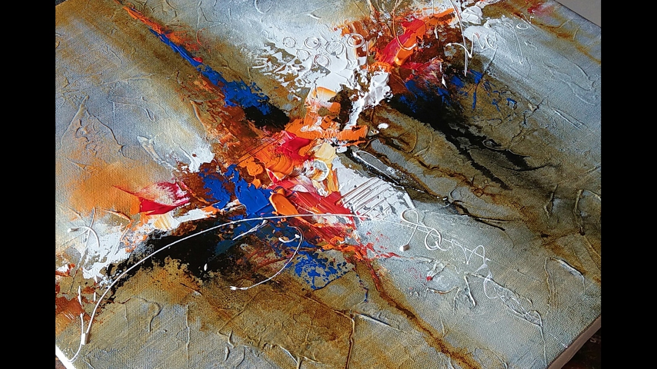 Abstract Painting Demonstration # Acrylics # 02/02/2017 ...