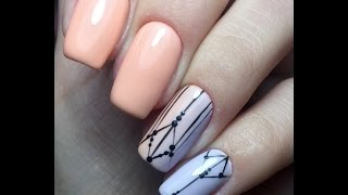 Весенний нежный маникюр. Модный маникюр 2017. Геометрический дизайн ногтей. Тонкие линии в дизайне.