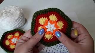 Шестиугольный мотив крючком Африканский цветок, Учимся читать схемы