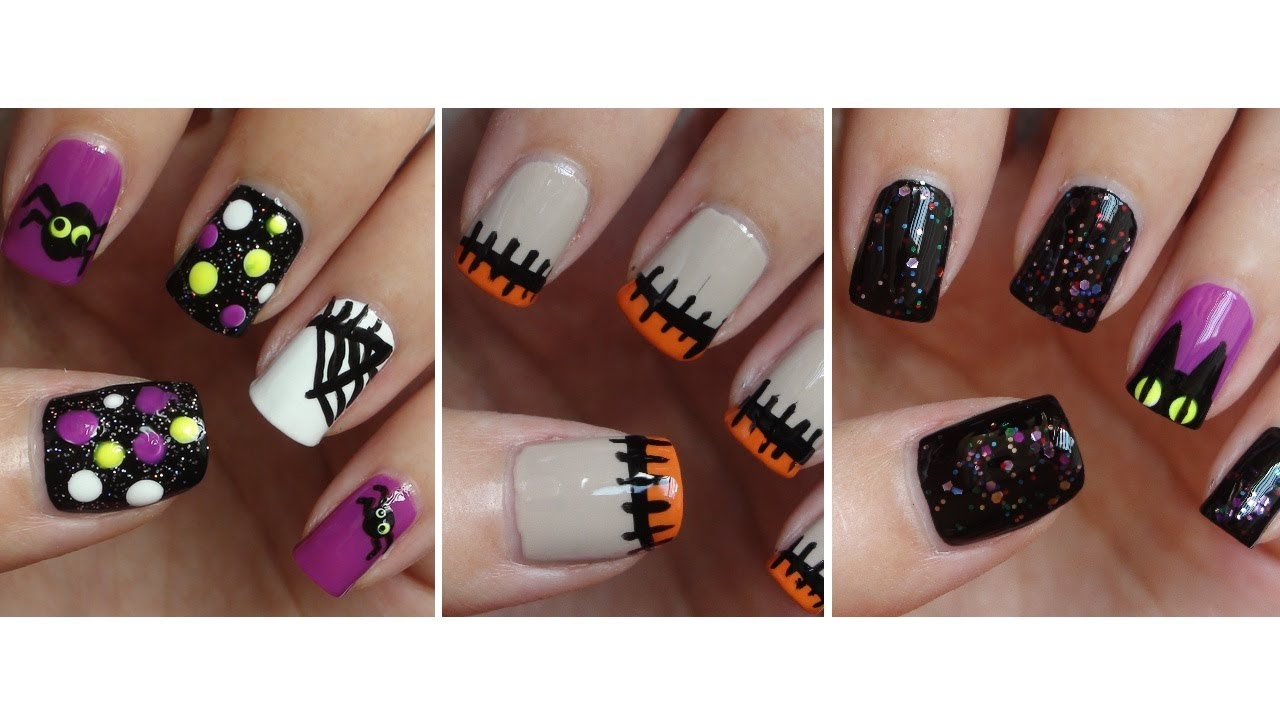 Halloween nails three easy designs youtube prinsesfo Choice Image