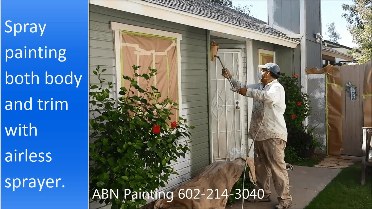 Painting the exterior of a house with spray gun. - YouTube