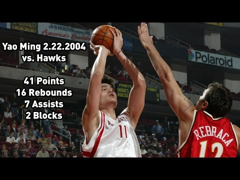 Yao Ming vs Atlanta Hawks: 2.22.2004 Full Highlights - 41 points, 16 rebounds, 7 assists & 2 blocks