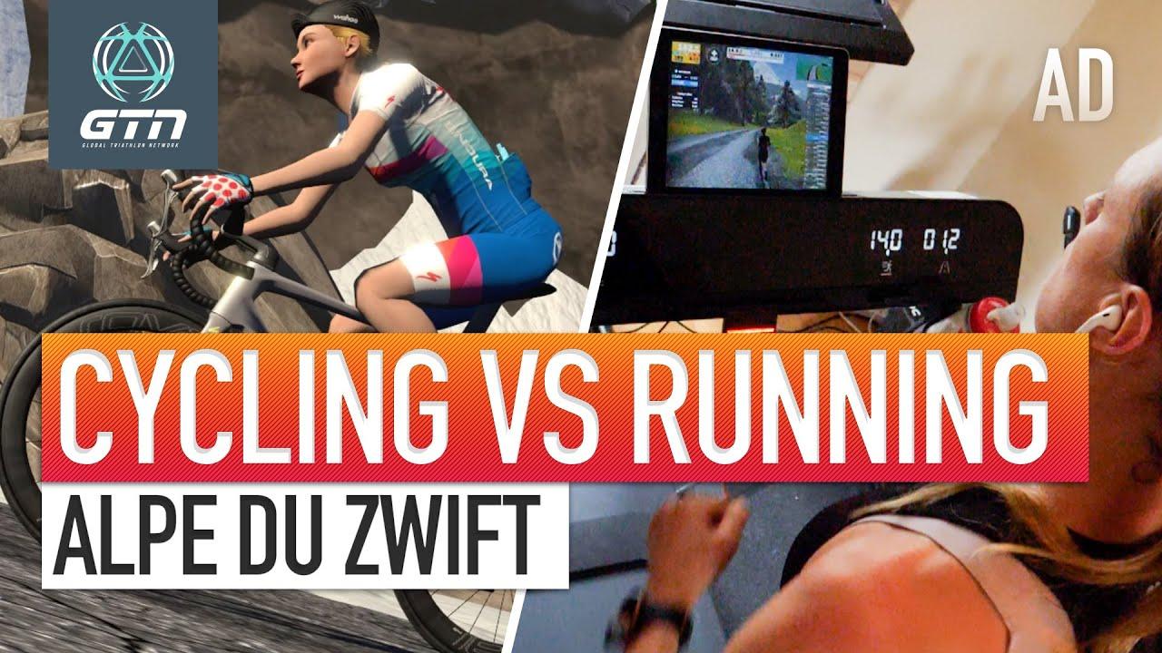 Alpe du Zwift: Cycling Vs Running | GTN Vs Team Charles-Barclay