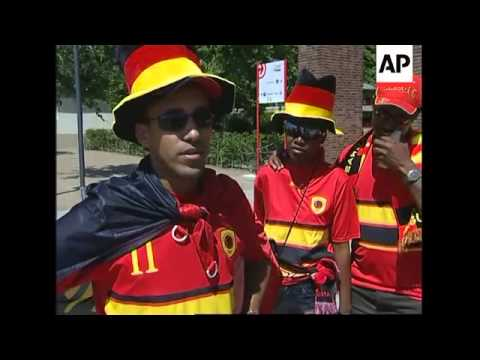 Supporters gather ahead of Angola v Portugal match